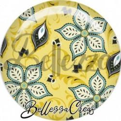 Cabochon verre, cabochon resine, frandoles, moutarde, bleu, vert, trio couleurs