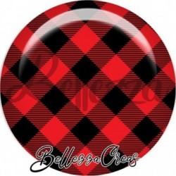 Cabochon verre, cabochon resine, carreaux rouge et noir, cerf, noël, fêtes