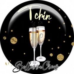 Cabochon verre, cabochon resine, nouvel an, noël, fêtes, fin d'année, évènementiel