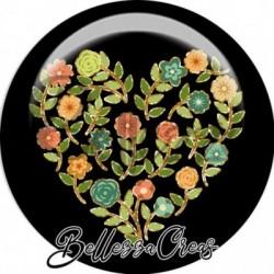 Cabochon verre, cabochon resine, automne, cœur, fleurs, orange et marron
