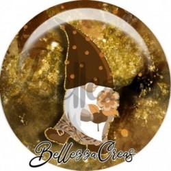 Cabochon verre, cabochon resine, automne, gnome, love, orange et marron