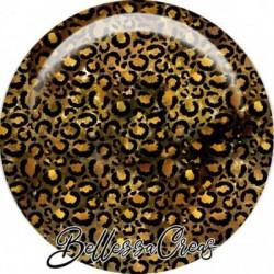Cabochon verre, cabochon resine, automne, léopard, safari, orange et marron