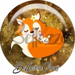 Cabochon verre, cabochon resine, automne, renard, orange et marron