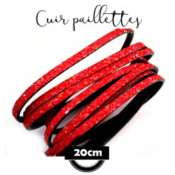 Cordon en cuir plat 5mmx2mm ,paillettes, glitters, scintillant, couleur dark rouge