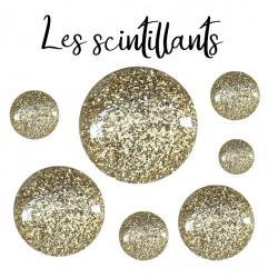 Cabochon verre, scintillants, brillant, glitters, paillettes, couleur doré gold chic