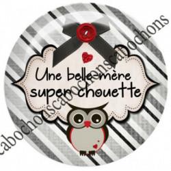 1 CABOCHON  résine Cabochons Rond 25mm  Ref 8083belle-mère,super chouette,texte,écriture,gris et rouge,flots,noeuds,bouton,coeur