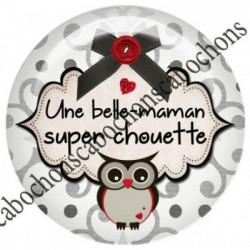 1 CABOCHON  résine Cabochons Rond 25mm  Ref 8063belle maman,Chouette,super chouette,texte,écriture,gris et rouge,flots,noeuds,bouton,coeur