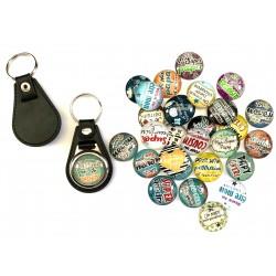 Porte clés x 5 pcs, mixe aléatoire, simili cuir