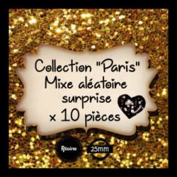 10 CABOCHONs  résine Cabochons Rond 25mm  Mixe aléatoire  PARIS