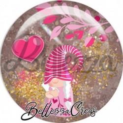 Cabochon verre, cabochon resine, gnome, amour, love, saint valentin