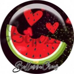 Cabochon verre, cabochon resine, pastèque, fruit, été, melon, nature