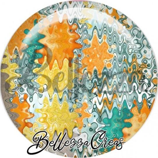 Cabochon verre, cabochon resine, farandole turquoise, bleu, orange