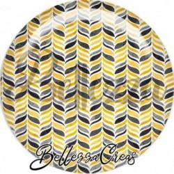 Cabochon verre, cabochon resine, farandole, gris et jaune