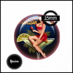1 CABOCHON  résine Cabochons Rond 25mm  Ref 7974Pin'up,rétro,fashion,sexy, textes,écritures
