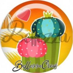 Cabochon verre, cabochon resine, cactus, palmier, exotique, été, fleurs, été