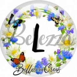 Cabochon verre, cabochon resine, alphabet, lettre alphabet, fleur, nature, printemps