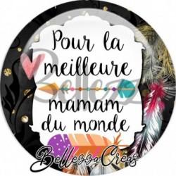Cabochon verre, cabochon resine, maman, fêtes des mères, plumes, bohème