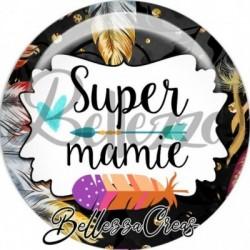 Cabochon verre, cabochon resine, mamie, fêtes des mères, plumes, bohème
