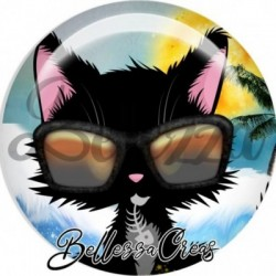 Cabochon verre, cabochon resine, chat, humour, soleil, été, marin