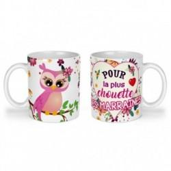 Mug, tasse en céramique, pour la plus chouette des marraines, cadeaux, plaisir d'offrir