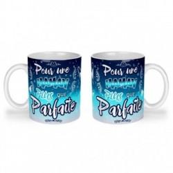 Mug, tasse en céramique, une maman plus que parfaite, bleu céleste, cadeaux, plaisir d'offrir