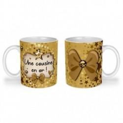 Mug, tasse en céramique, une cousine en or, cadeaux, plaisir d'offrir