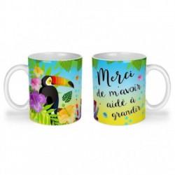 Mug, tasse en céramique, merci de m'avoir aidé à grandir, toucan, exotique, cadeaux, plaisir d'offrir