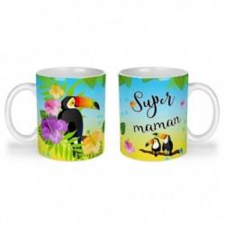 Mug, tasse en céramique, super maman, toucan, exotique, cadeaux, plaisir d'offrir