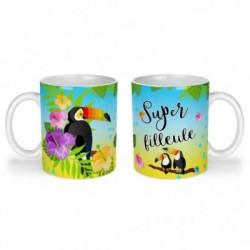 Mug, tasse en céramique, super filleule, toucan, exotique, cadeaux, plaisir d'offrir