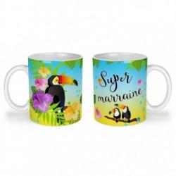 Mug, tasse en céramique, super marraine, toucan, exotique, cadeaux, plaisir d'offrir