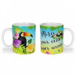 Mug, tasse en céramique, merci pour cette super année, toucan, exotique, cadeaux, plaisir d'offrir