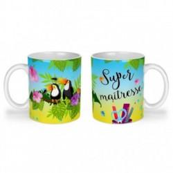 Mug, tasse en céramique, super maîtresse, toucan, exotique, cadeaux, plaisir d'offrir
