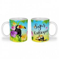 Mug, tasse en céramique, super collègue, toucan, exotique, cadeaux, plaisir d'offrir