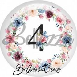 Cabochon verre, cabochon resine, chiffre 4, anniversaire, couronne fleurs