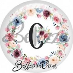 Cabochon verre, cabochon resine, chiffre 0, anniversaire, couronne fleurs