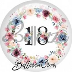 Cabochon verre, cabochon resine, chiffre 18, anniversaire, couronne fleurs