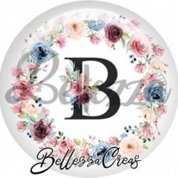 Cabochon verre, cabochon resine, lettre initale, b, couronne fleurs