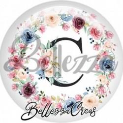 Cabochon verre, cabochon resine, lettre initale, c, couronne fleurs
