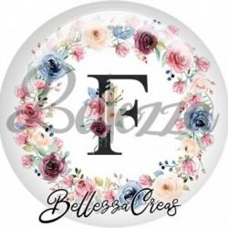 Cabochon verre, cabochon resine, lettre initale, f, couronne fleurs