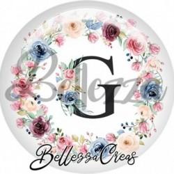 Cabochon verre, cabochon resine, lettre initale, g, couronne fleurs