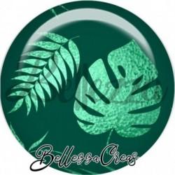 Cabochon verre, cabochon resine, tropical, exotique, nature, feuille, jungle