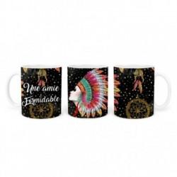 Mug, tasse en céramique, une amie formidable, plaisir d'offrir, boho, amérindien, plume, bohème