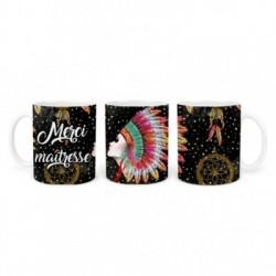 Mug, tasse en céramique, merci maîtresse, plaisir d'offrir, boho, amérindien, plume, bohème