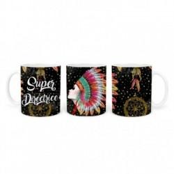 Mug, tasse en céramique, super directrice, plaisir d'offrir, boho, amérindien, plume, bohème