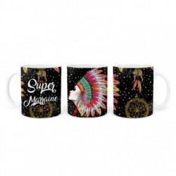 Mug, tasse en céramique, super marraine, plaisir d'offrir, boho, amérindien, plume, bohème