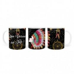 Mug, tasse en céramique, une voisine au top, plaisir d'offrir, boho, amérindien, plume, bohème