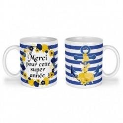 Mug, tasse en céramique, merci pour cette super année, marin ,ancre, cadeaux, plaisir d'offrir
