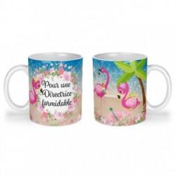 Mug, tasse en céramique, pour une directrice formidable, flamant rose, plage, été, cadeaux, plaisir d'offrir