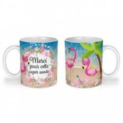 Mug, tasse en céramique, merci pour cette super année, flamant rose, plage, été, cadeaux, plaisir d'offrir