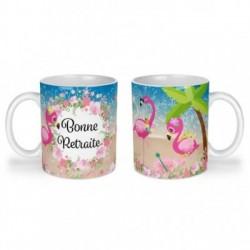 Mug, tasse en céramique, bonne retraite, flamant rose, plage, été, cadeaux, plaisir d'offrir